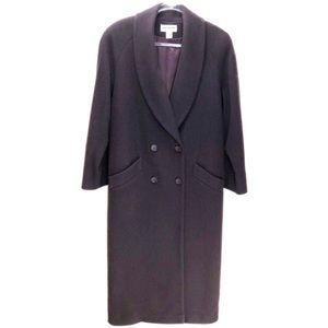 Preston & York Wool Merlot Long Coat Size 12 Vtg